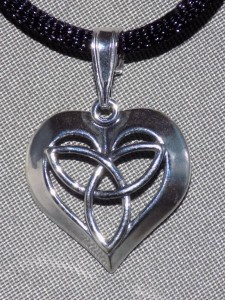 Sterling Silver Celtic Trinity Knot Heart Necklace