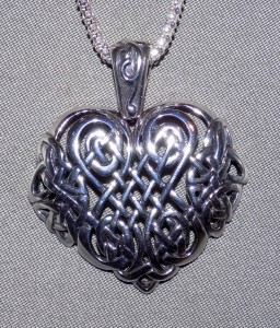 Large Sterling Silver Celtic Heart Knot Necklace