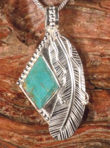 Kingman Turquoise Diamond-shape in Sterling Silver with hand-made Sterling Silver Feather