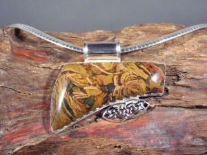 Kaleidoscope Jasper Pendant in Sterling Silver with Celtic Knot